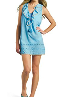 Ocean Blue Eyelet Embroidered Ruffle Swim Coverup