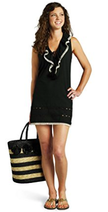 Stylish Mudpie Black Eyelet Embroidered Ruffle Swim Coverup