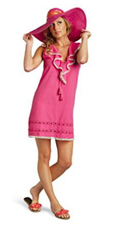 Stylish Mudpie Pink Flamingo Eyelet Embroidered Ruffle Swim Coverup