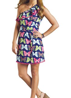 Mud Pie Women's Caroline One Shoulder Dress Butterfly Print