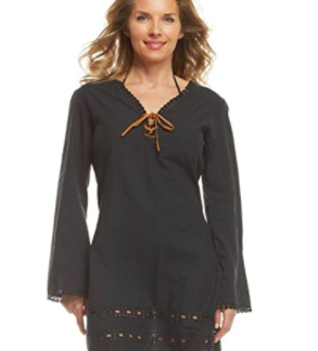Mud Pie Swimwear Coverup Black Crochet Trim