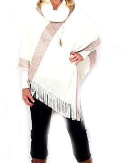 Large Collared Poncho - Crème/White
