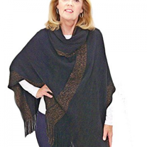 Large Collared Poncho - Black