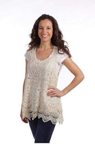 Crochet Tank Top by Noelle - Beige - Styling Options