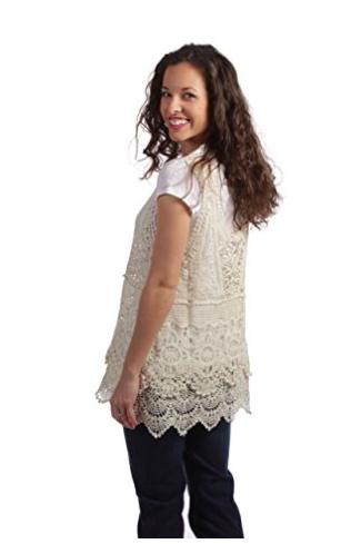 Crochet Tank Top by Noelle - Beige - Back View