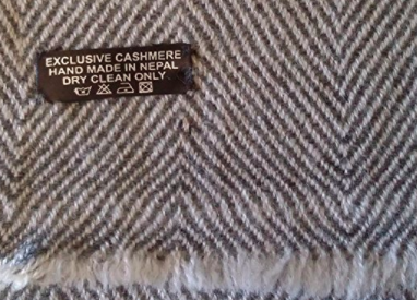 Cashmere Men's Scarf - Grey - Label View