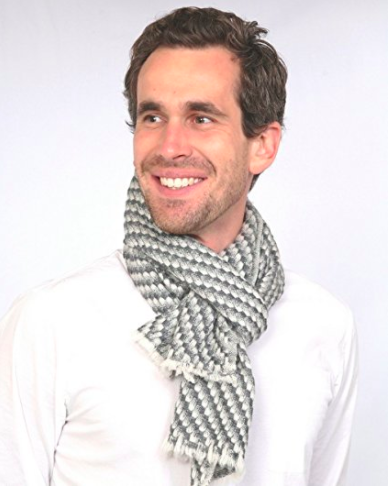 Cashmere Men's Scarf - Grey Pattern 2