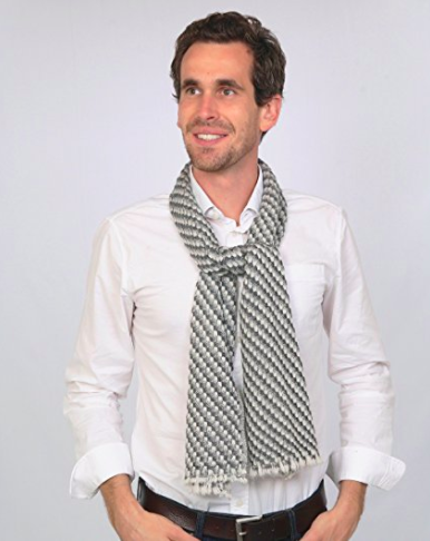 Cashmere Men's Scarf - Grey Pattern 2 - Full Length View