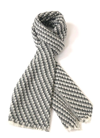 Cashmere Men's Scarf - Grey Pattern 2 - Full Length View (2)