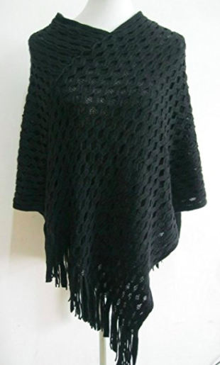 Spring Poncho - Black - Mannequin View