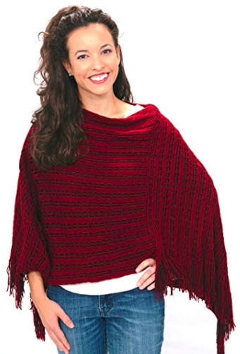 Fall Poncho - Rust Red - Front View