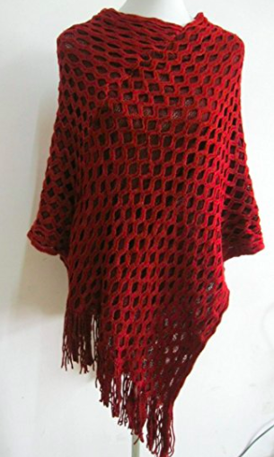 Fall Poncho - Rust Red - Mannequin View