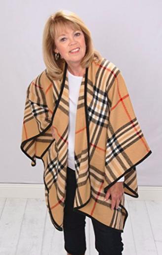 Blanket Poncho Wrap - Tartan Plaid - Front View