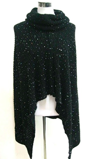 Sparkle Poncho - Black - Mannequin View