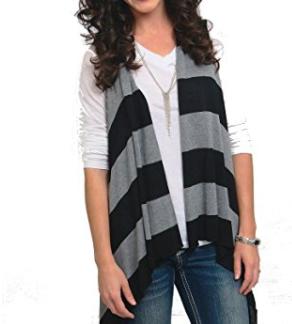 Sleeveless Cardigan Wrap - Bold Stripe