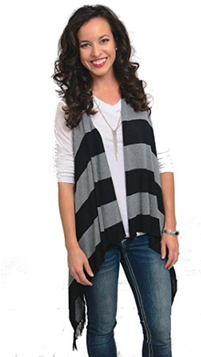 Sleeveless Cardigan Wrap - Bold Stripe