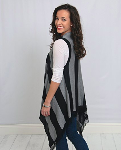 Sleeveless Cardigan Wrap - Bold Stripes - Back View