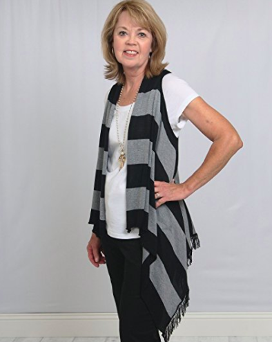 Sleeveless Cardigan Wrap - Bold Stripes - Side View