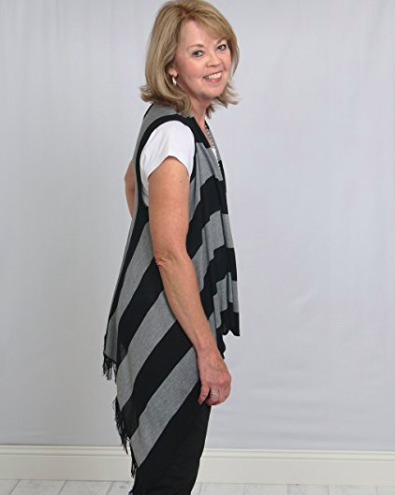 Sleeveless Cardigan Wrap - Bold Stripes - Side View (2)