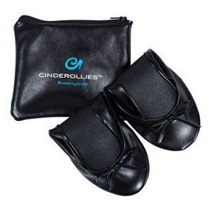 Midnight Black (Black) Foldable Ballet Flats by Cinderollies